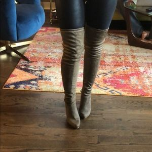 Taupe over the knee otk boots w/ gold zippers